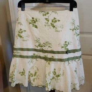 Cream and green floral skirt